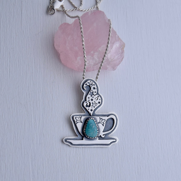 Cuppa Potion Pendant with White Water Turquoise