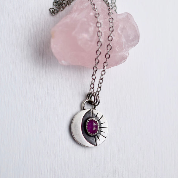 Lunar Phase Pendant with Rose Cut Purple Sapphire