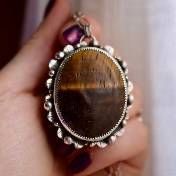 Worry Stone Pendant with Tigers Eye
