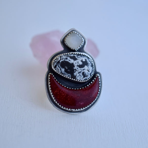 The Three Terrors Meditating Moon Ring size 8
