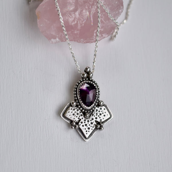 Metamorphosis Pendant with rose cut Atomic Amethyst