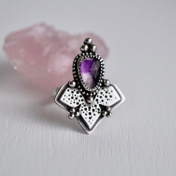 Metamorphosis Ring with rose cut Atomic Amethyst size 8