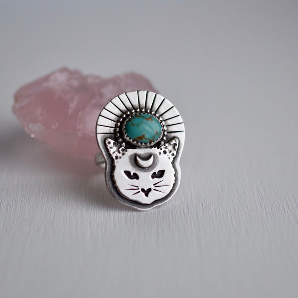 Thou Mangy Feline Ring with Kingman Turquoise size 6