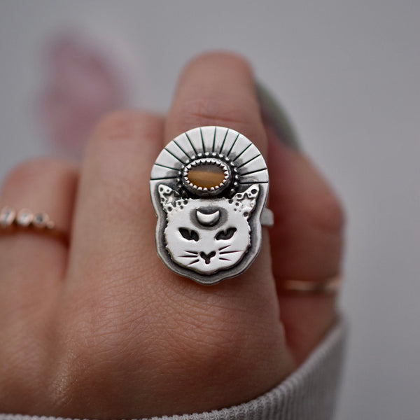 Thou Mangy Feline Ring with Tigers Eye size 7