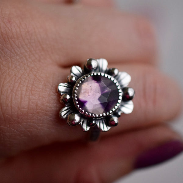 Little Dark Cloud Ring with Australian Opal Doublet Size 9
