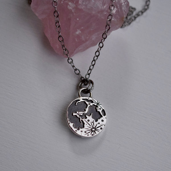 Lunar Phase Pendant with Sunstone
