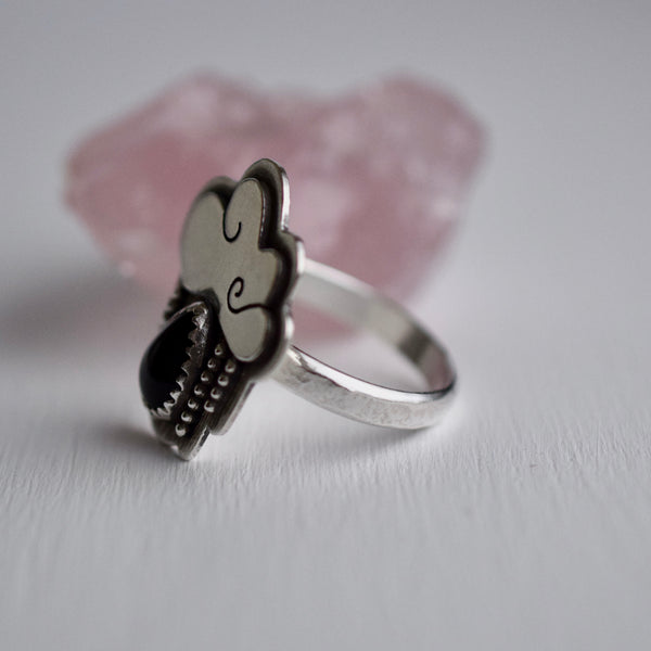 Little Dark Cloud Ring with Black Onyx size 9