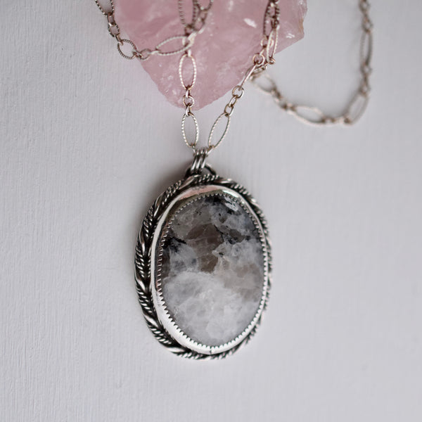 Little Dark Cloud Necklace with Rainbow Moonstone