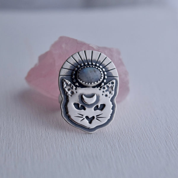 Thou Mangy Feline Ring with Rainbow Moonstone size 5