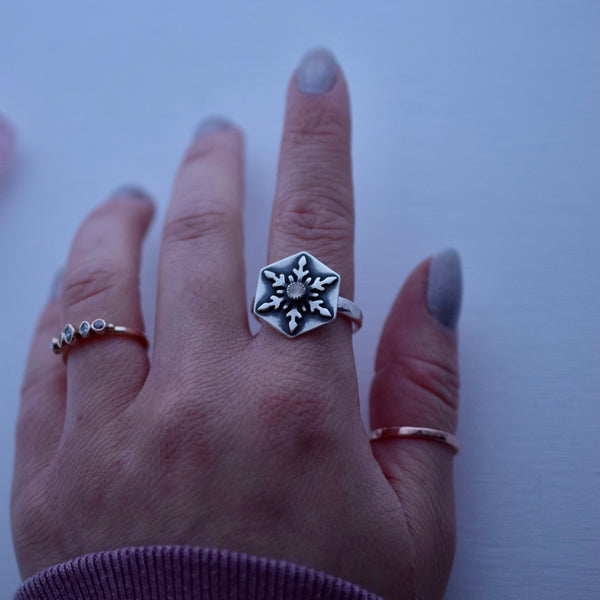 Snowflake Ring with White Moonstone size 10