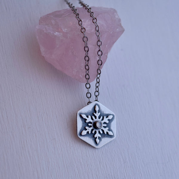 Snowflake Pendant with White Moonstone #001