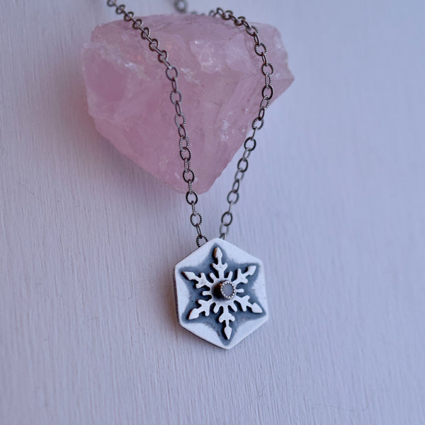 Snowflake Pendant with White Moonstone #002