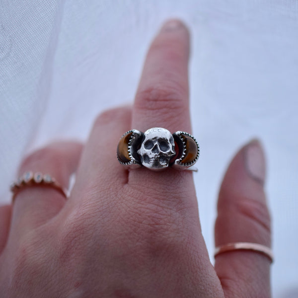 Eternal Skull Ring with Tigers Eye Size 8