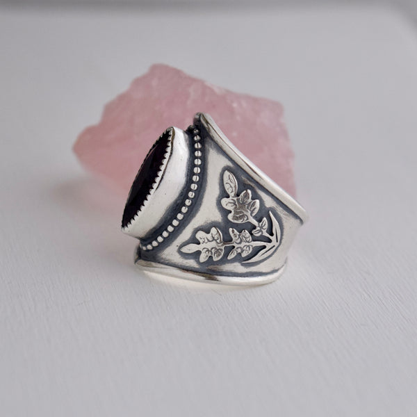 Midnight Lavender Shield Ring size 9