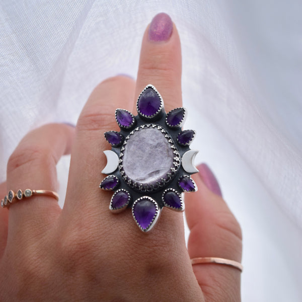Watchful Eye Ring with Grey Sunstone size 10