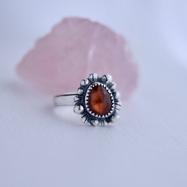Supernova Ring with Rose Cut Hessonite Garnet size 6