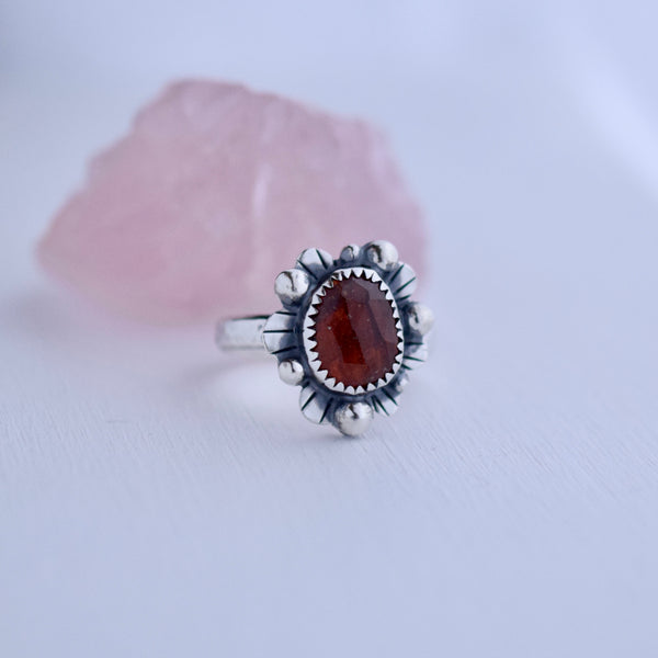 Supernova Ring with Rose Cut Hessonite Garnet size 7