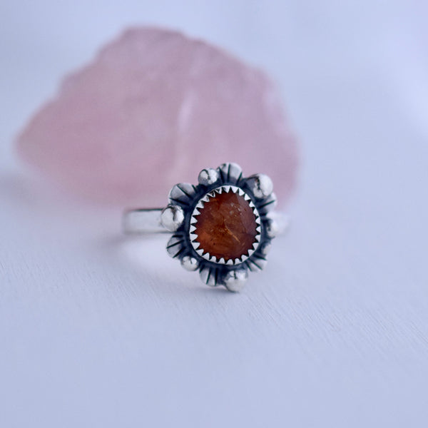 Supernova Ring with Rose Cut Hessonite Garnet size 8