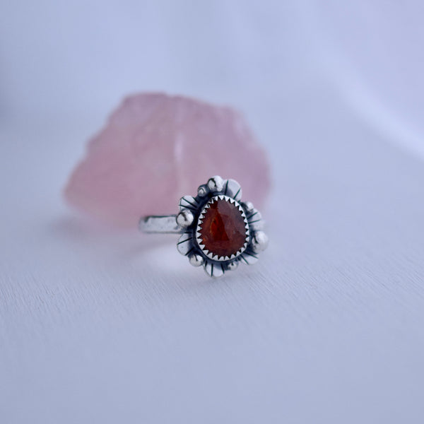 Supernova Ring with Rose Cut Hessonite Garnet size 9