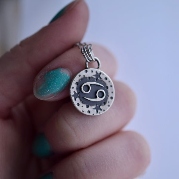 Double Sided Lunar Zodiac Pendant Cancer