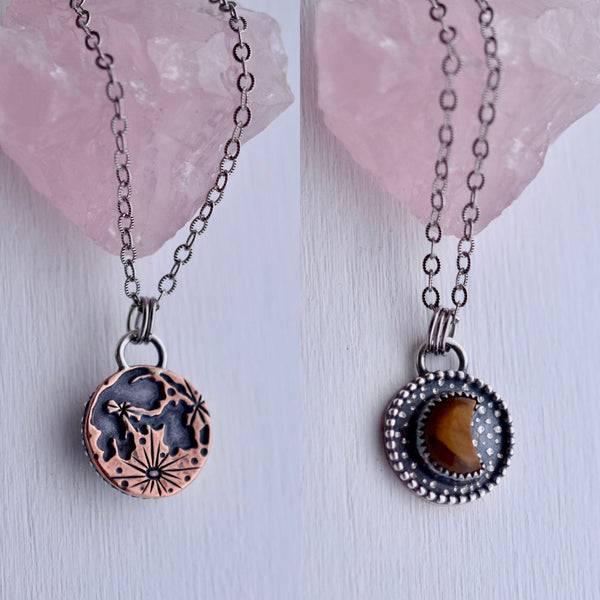 Double sided Blood on the Moon Pendant with Tigers Eye #002