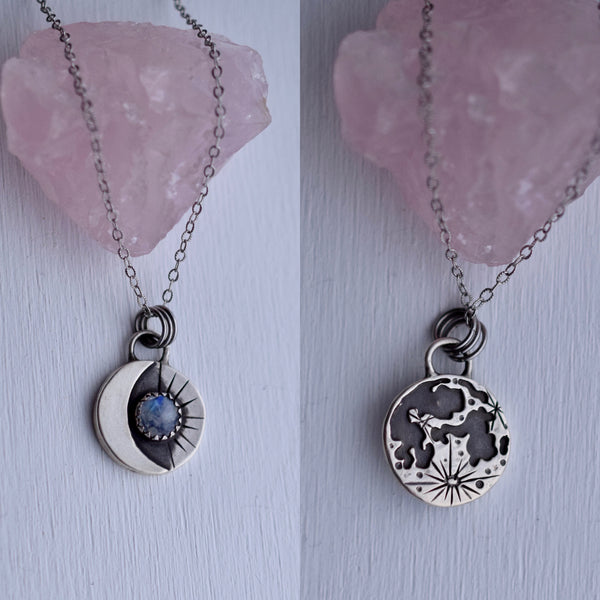 Lunar Phase Pendant with Rainbow Moonstone