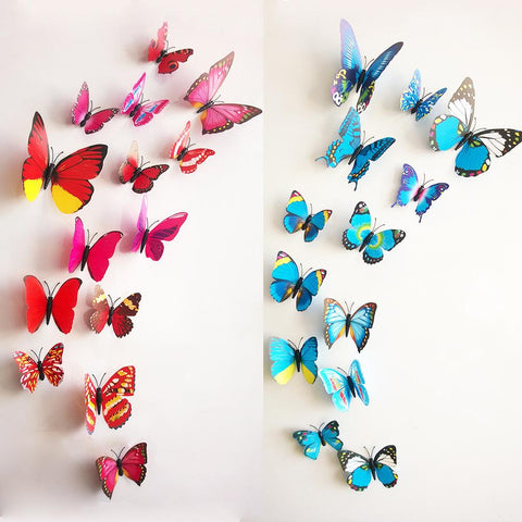 Butterflies Wall Decor 3D Stickers (12pcs  )