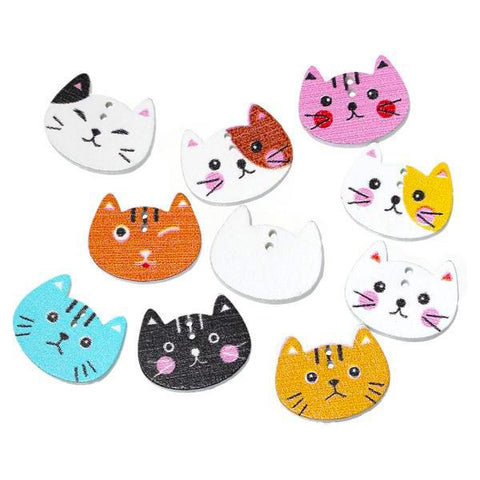 10 Cat buttons Wood Sewing Button Scrapbooking