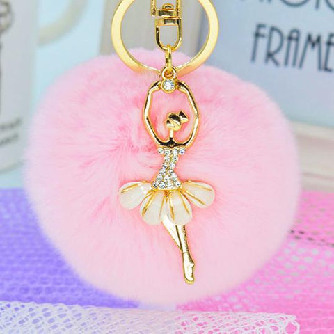 Fashion Women Rabbit Fur  Charm Car Keychain Handbag Key Ring Pendant