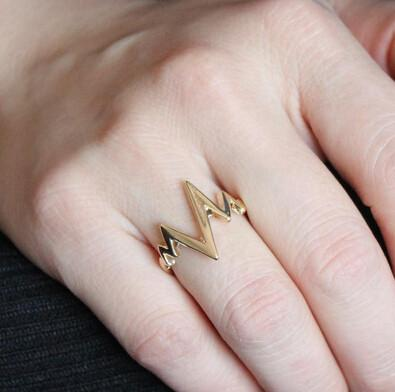 Fashion Ring 18K Gold Plated Lightning 17mm