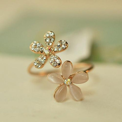 Double Daisy Flower Adjustable Ring