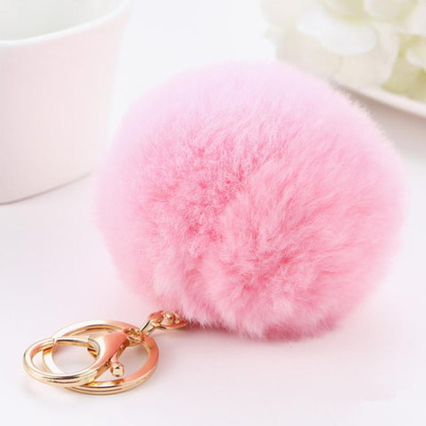 Keychain Pompons 100% Genuine very Soft Rex Rabbit Fur