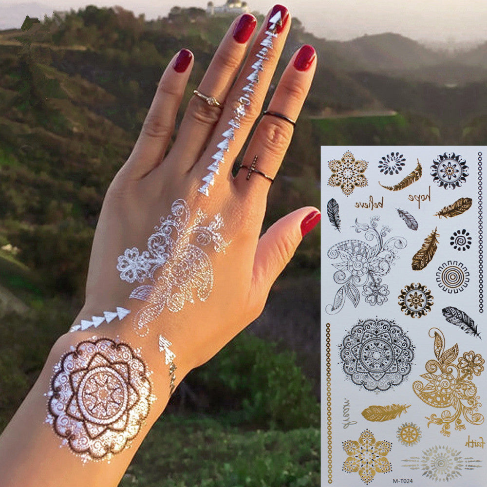 Temporary Tattoo Ink Like Henna: Gold /Silver Temporary Tattoo Body Art Sleeve Arm Flash