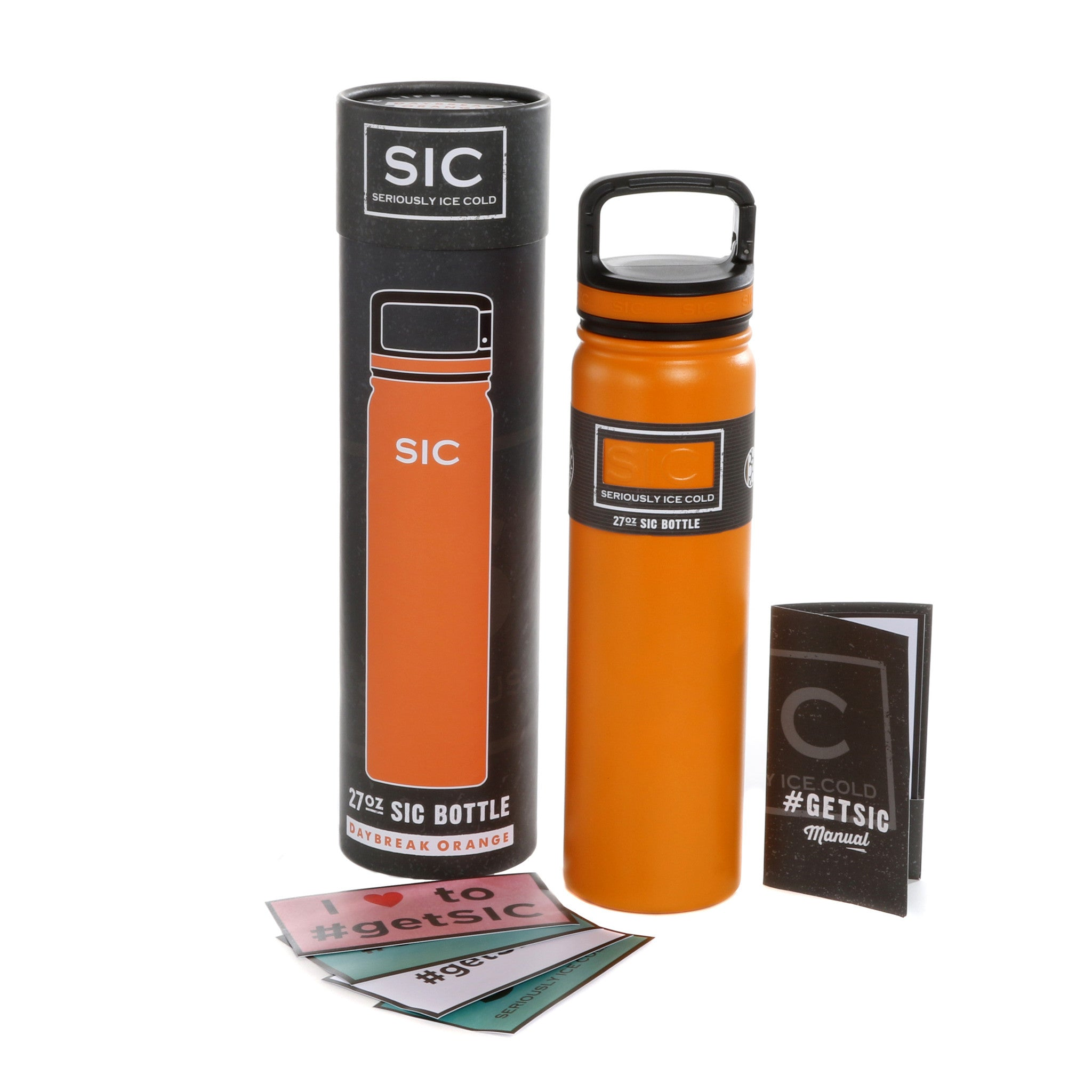 27 Oz Daybreak Orange SIC Bottle with built in Carabiner Lid