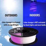 —UV PURPLE— HATCHBOX 3D PLA-1KG1.75-UVPUR Color Changing PLA 3D Printer Filament, 1 kg Spool, 1.75 mm
