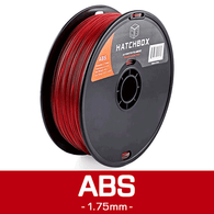 —TRANSPARENT RED— HATCHBOX 3D ABS-1KG1.75-TRED ABS 3D Printer Filament, 1 kg Spool, 1.75 mm