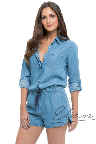 Elan Denim Gathered Waist Romper