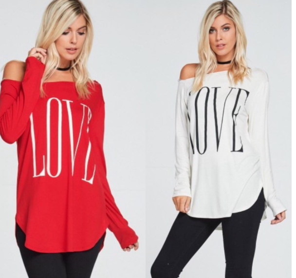 Off The Shoulder Love Shirt