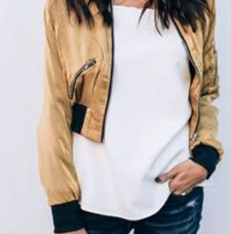ILY Couture Silky Cropped Bomber Jacket