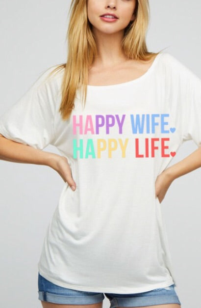 Happy Wife Tee White