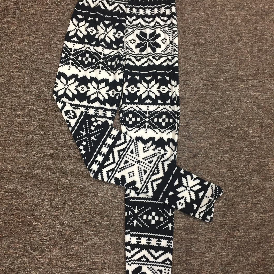 Micro Fleece Large Snowflake Leggings