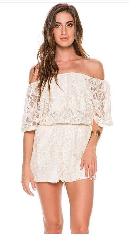 Elan Lace Off Shoulder Romper