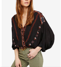 Free People Embroidered V-neck