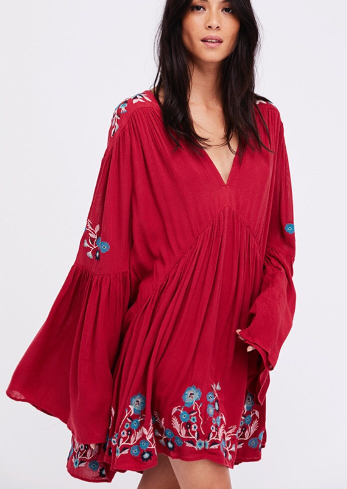 Free People Embroidered Smock Style