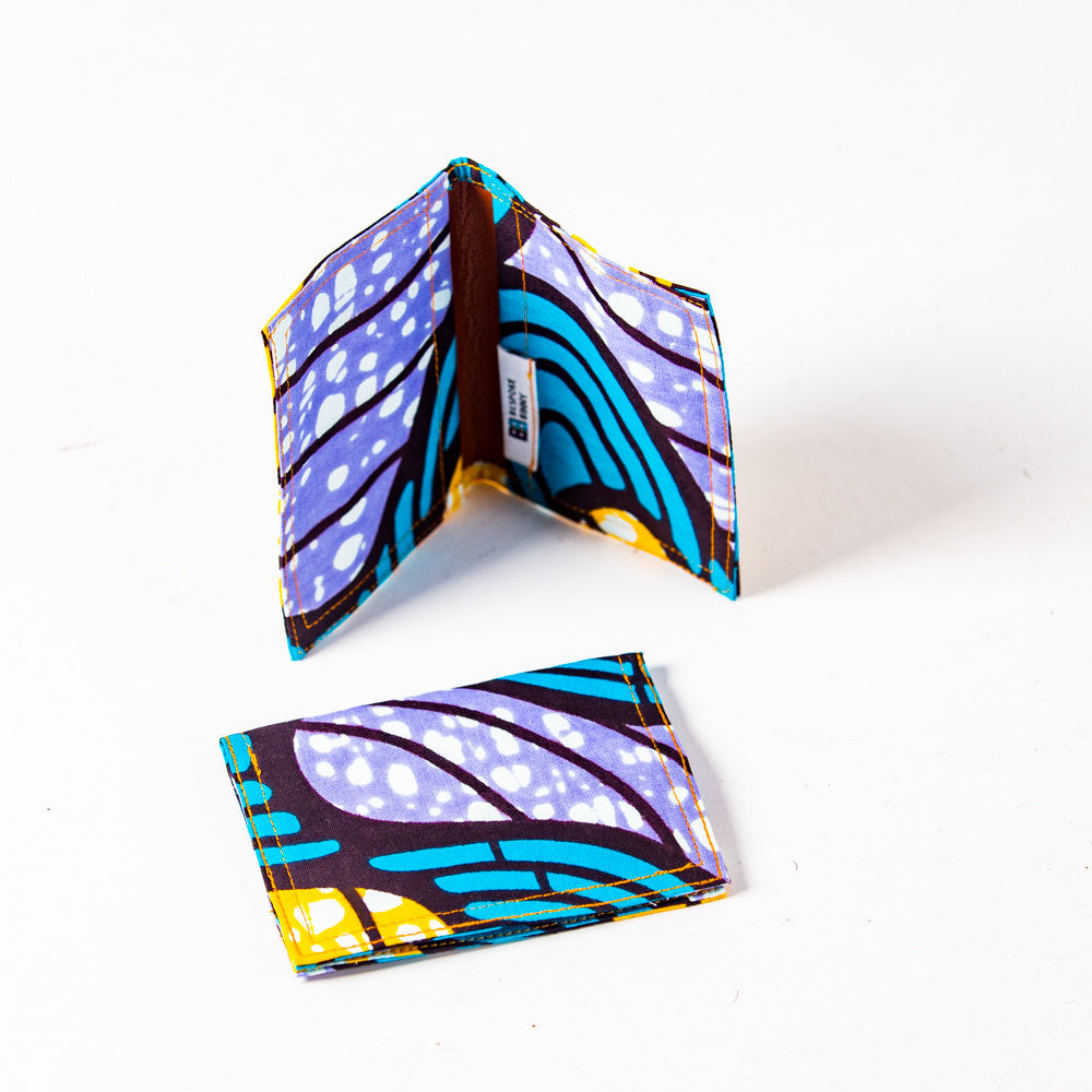 African Print Credit card holder - Lilac and Turquoise - Bespoke Binny