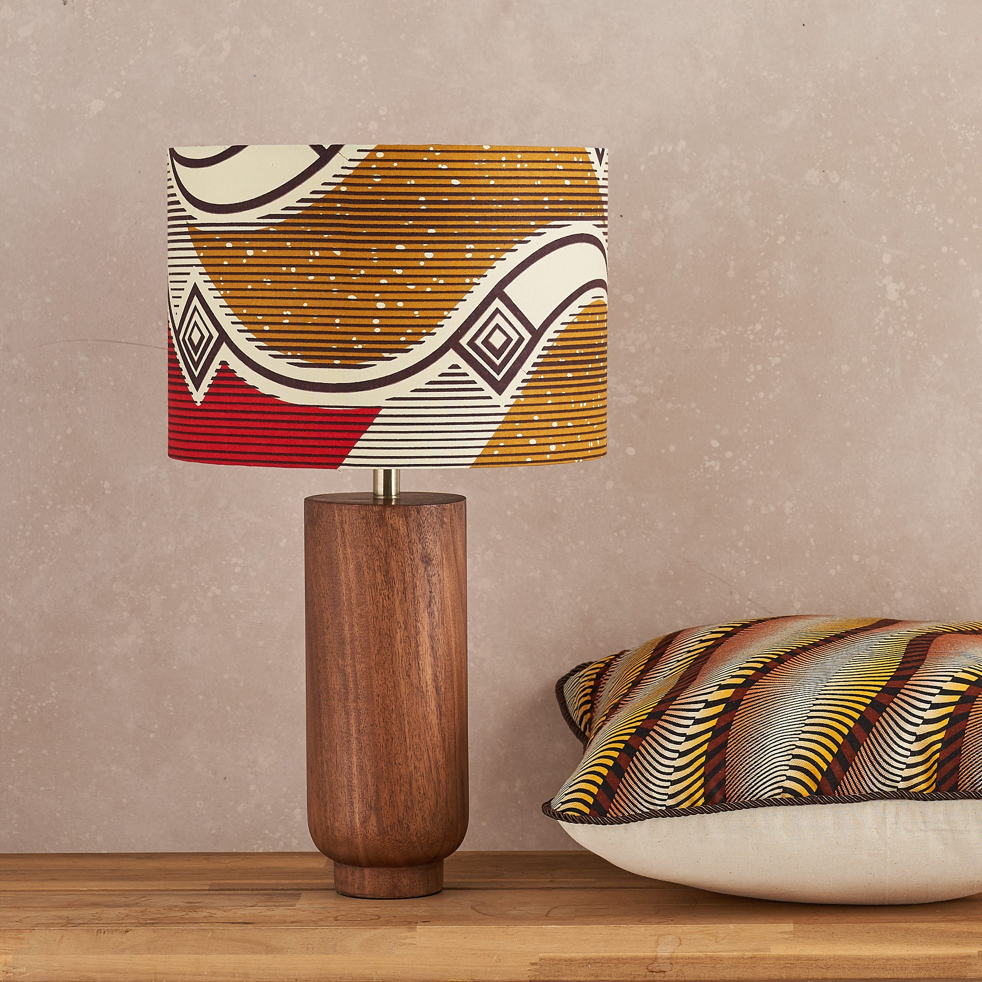 African print pillow cover - Wavy yellow and brown geometric cushion
