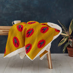 PRE-ORDER African print throw - Yellow Red Bird Throw