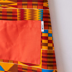 African print apron - Red brown Kente