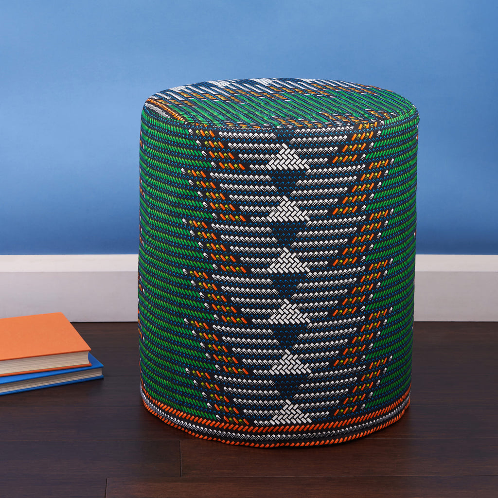 PRE-ORDER African print Poufe - green arrows