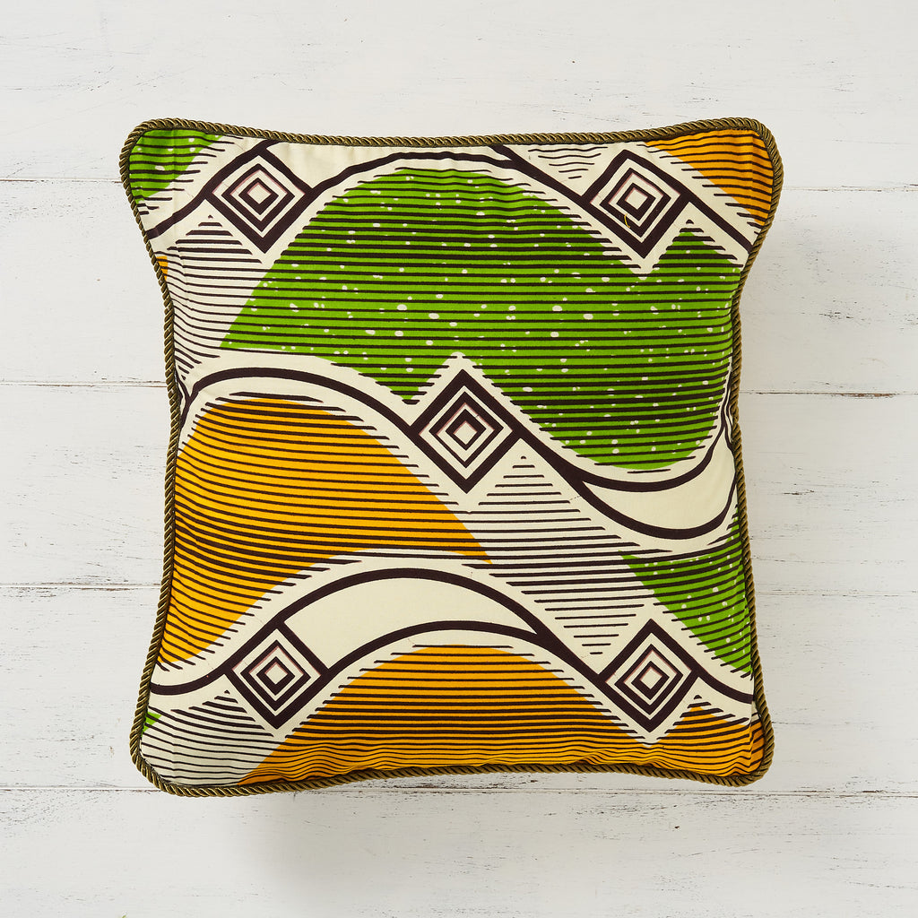 African print pillow cover - Green and yellow waves